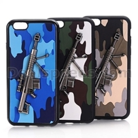 Military Style Camouflage Gun Pattern Leather Coated TPU Cases for iphone 6 armor case