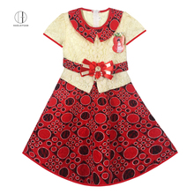 6103 Red African Haolaiyuan China professional wholesale african children long lace dress