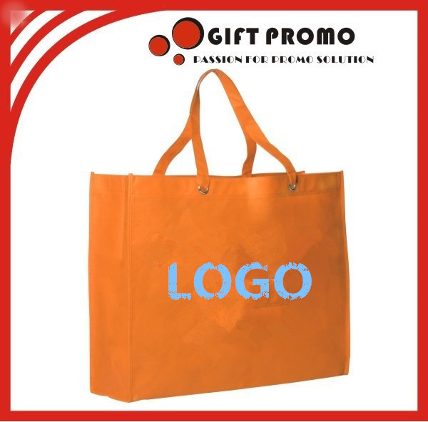 Custom Orange Pictures Printing PP Non Woven Carrier Handle Shopping Bag