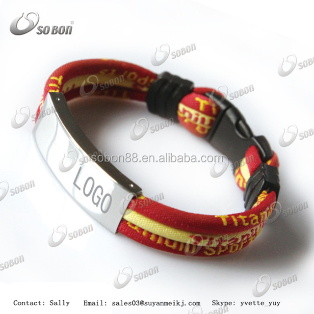 Fashion jewelry 3 color rope custom logo titanium energy bracelet with stainless steel clasp