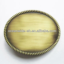Classic Antique Bronze Western Rope Oval Blank Belt Buckle