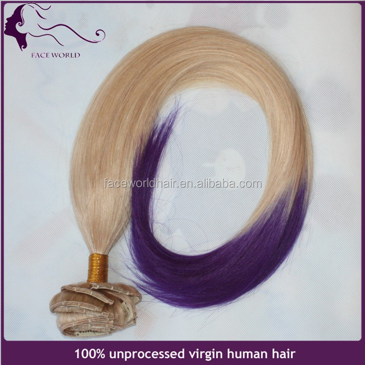 Factory direct Russian human hair two tone ombre straight clip in hair extension