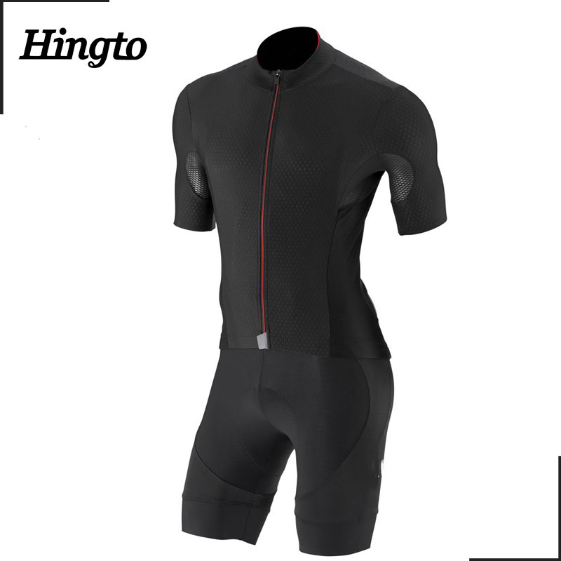 Plain black color men 100% polyester sublimated dri fit bike suit cycling jersey and bib short set wholesale