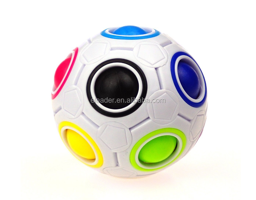 Children's 3D Intelligence Games Magic Rainbow Puzzle Ball Football Style Fidget Toys Speed Cube