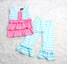 Boutique remakes little girls baby clothing suit ruffles top and stripes pants designer clothing manufacturers in china