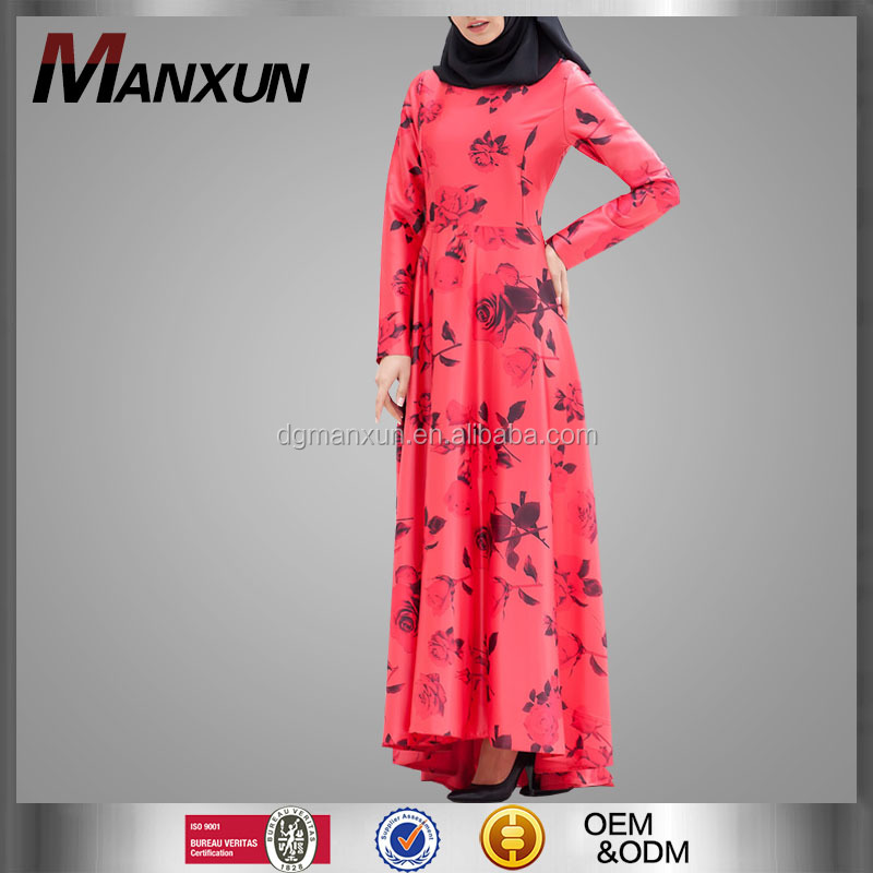 2017 Fashion Dress High Quality Dubai Women Abaya Floral Printed Muslim Abaya Dresses Model Style Islamic Long Clothing Online