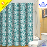 Walmart hot sale and waterproof printed polyester fabric shower curtain