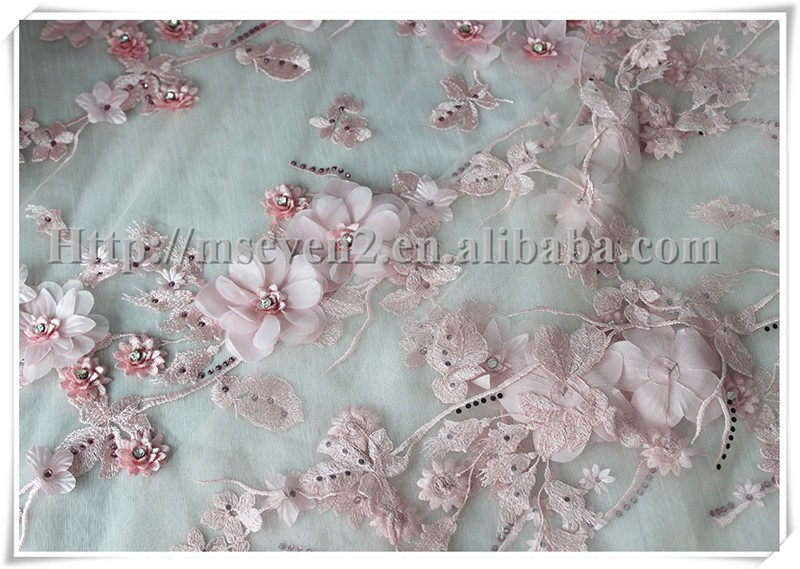 New Arrived 3D pink flower fabric with rhinestone african wedding embroidery lace fabric