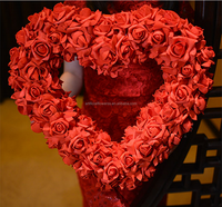 Wholesale handmake foam heart shape artificial foam flower garland for wedding decoration