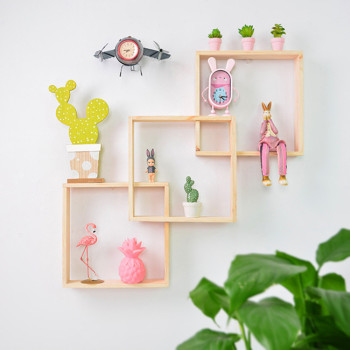 Square Home Decor Colored Wooden Wall Decoration Storage Rack