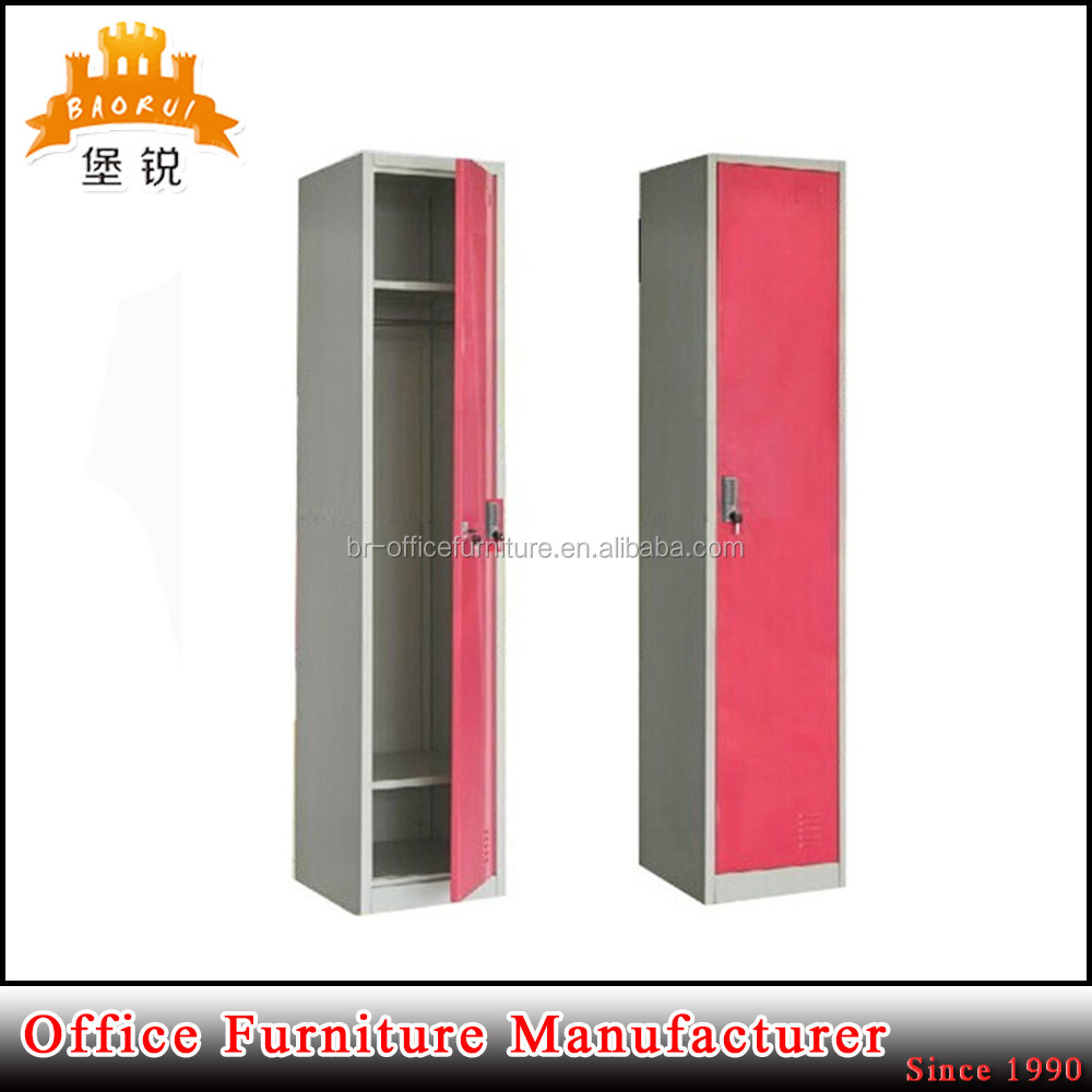 Modern steel Furniture cheap single door metal military wall metal locker with clothes hanging rod & two shelves