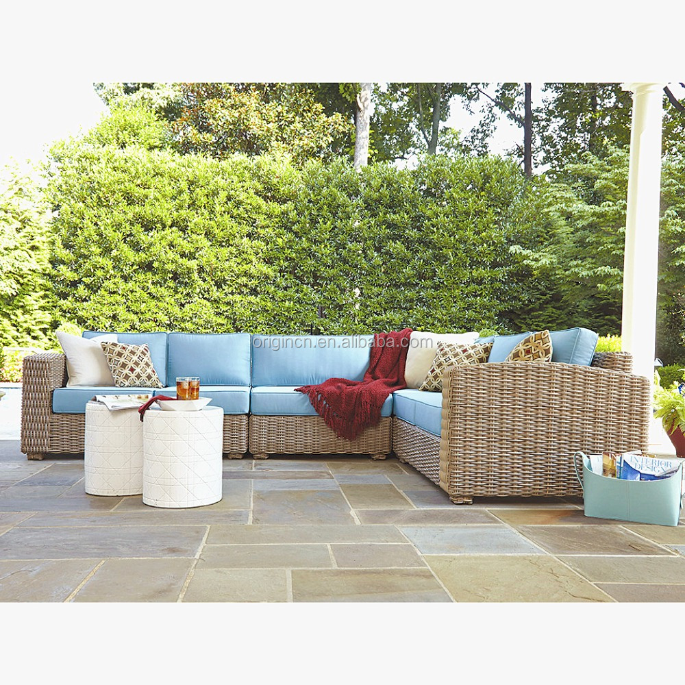 2016 New Arrival Home & Garden lounge set with sky blue cushions polypropylene round core poly rattan furniture