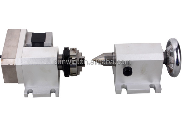 4th Axis 3-Jaw Chuck & Tailstock for CNC router, Rotary Axis for Lathe/Mill Machine