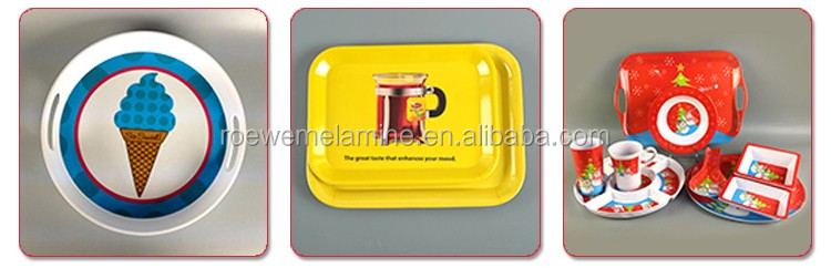 Custom printed 4 compartment tray melamine divided plate