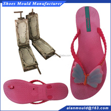 PVC air blowing flat flip flop slipper making mould with butterfly strap for girl