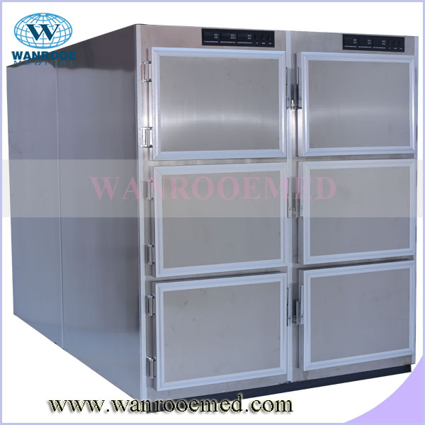 GA306 NEW type six bodies stainless steel mortuary refrigerator