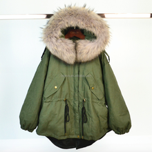 Fashion Style Women Thick Fur Jackets Parka With Real Raccoon Fur Collar