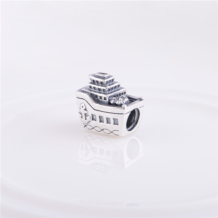 925 Sterling Silver Travel Ship Screw Hole DIY Jewelry Findings Charm Beads, Fits European style bracelets & bangles LW100