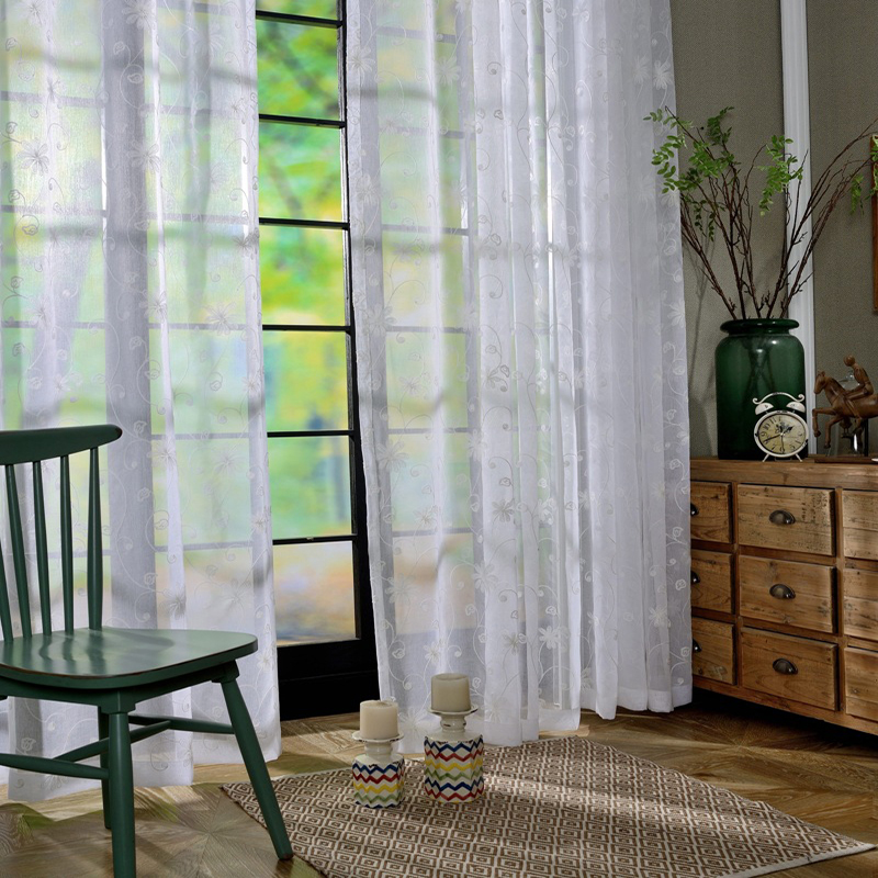Latest window curtain designs living room grommet polyester white embroidered sheer curtain - Latest curtain designs for windows ...