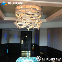 Modern hotel project lighitng metal chandelier zinc alloy pendant light with crystal droplets