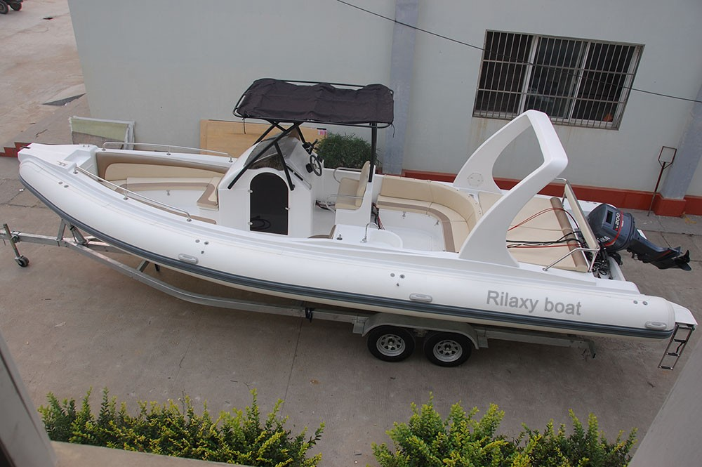 RILAXY High Speed Yacht Boat for sale, Low Price 24' Luxury RIB Boat with Orca Hypalon Tube RIB 730, Mini Yacht Made in China