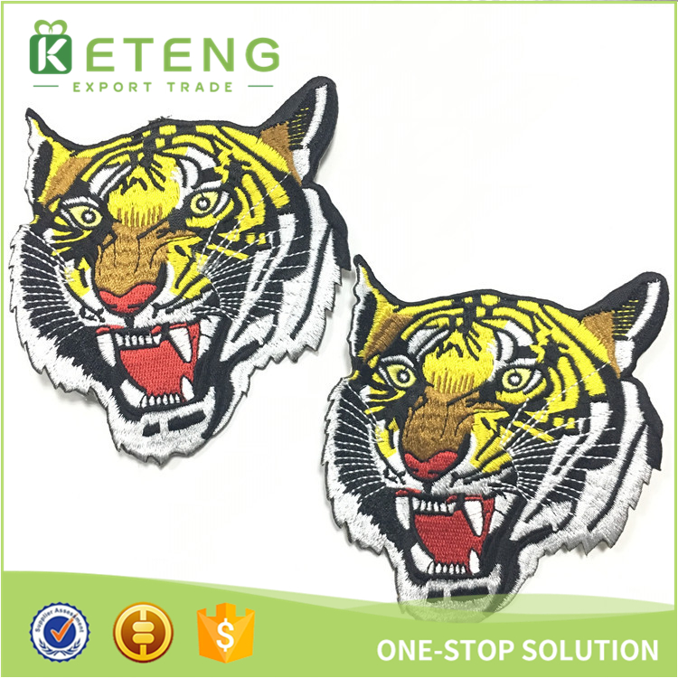 Custom self-adhesive clothing shoulder jacket tiger embroidery patch