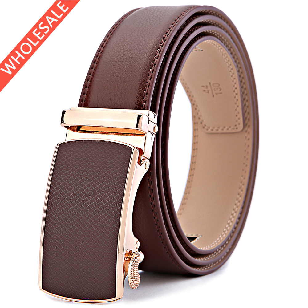 Bulliant Wholesale Leather Cover Gold Automatic Buckle Logo Custom <strong>Belt</strong> For Men