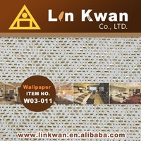Linkwan Taiwan W03-011 woven hotel fabric holographic bamboo design wallpaper