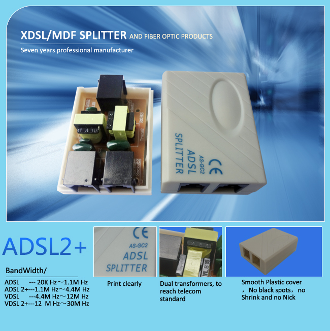 China supplier three rj11 phone modem Italy adsl filter and splitter