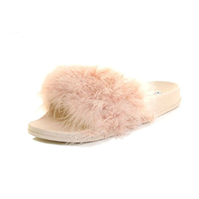 Gracozy Platform Comfortable Women Fancy Shoes Short Fur Beautiful Dress Casual Slippers