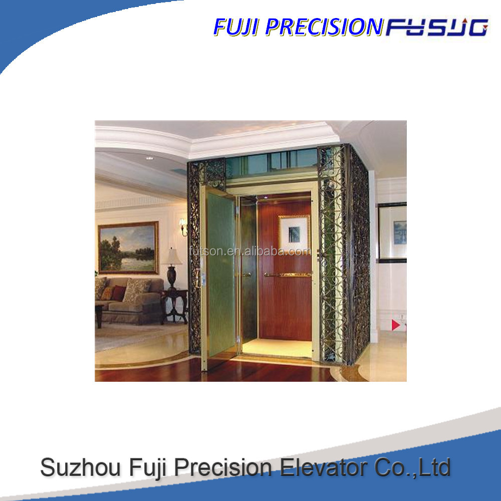 FUJI directly factory Small Elevator For Home, residential Elevator, 320 Kg Villa Elevator Lift with wooden/glass cabin