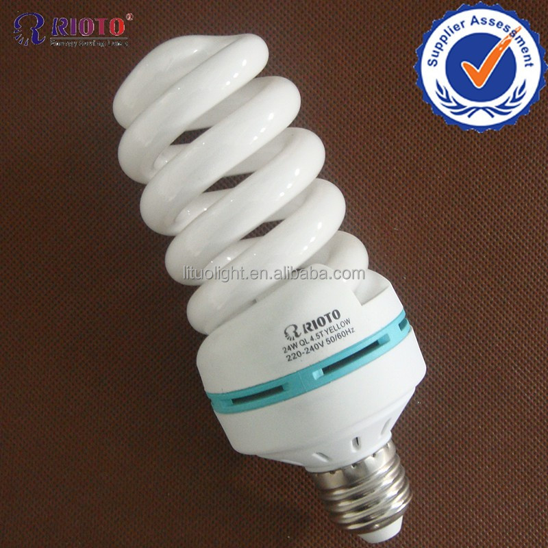 100%Tri-color 220V T5 full spiral 65W CFL with CE ROHS Hangzhou factory compact fluorescent lamp snow white electric bulbs