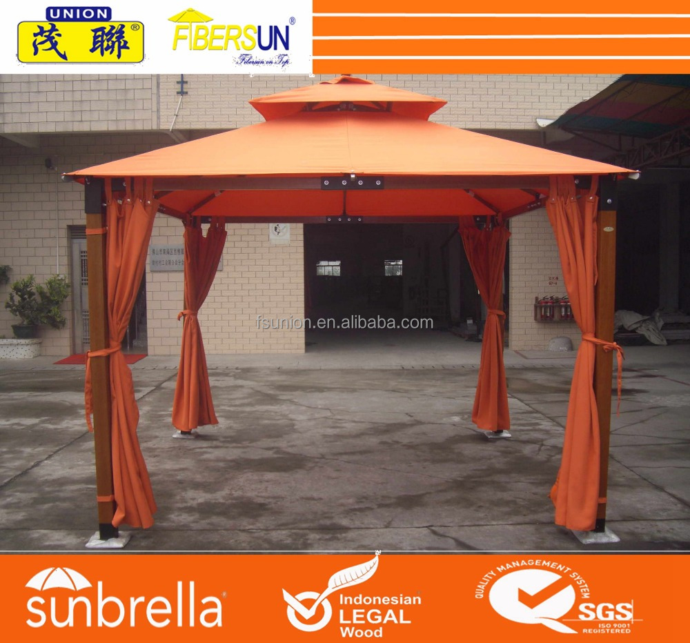 Strong wind resistant wooden hardwood timber gazebo