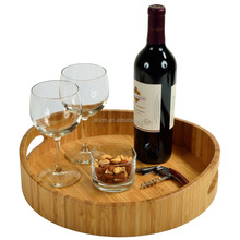 Wholesale Carbonized Round Bamboo Serving Tray with Handle 100% Handmade Bamboo Tea Tray Eco-friendly Hotel Wine Serving Tray