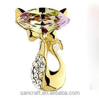 Vintage wholesale lovely cat Austrian crystal for dress fancy pin gold christmas latest brooch design