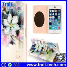 New Arrival Fashion Colorized Flowers Diamond Rhinestone Mirror PC+PU Leather Flip Stand Case for iPhone 5 5s