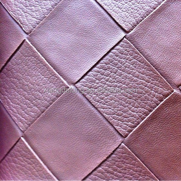 currently popular woven pattern embossing pu/pvc synthetic leather