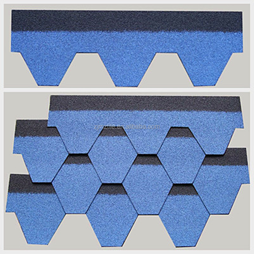 Fiber glass raw material mosaic blue asphalt shingle sale