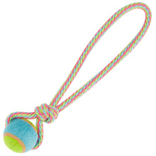 pet cotton rope chew toy thrower tennis dog play ball