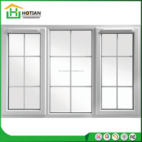 White color aluminum frame 3 panes aluminum sliding window with grill