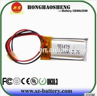 Hot 2015 years 501235 170mah lipo battery 551429 3.7v 170mah li ion battery