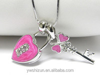 Whitegold palting crystal and epoxy key and heart lock dual pendant necklace