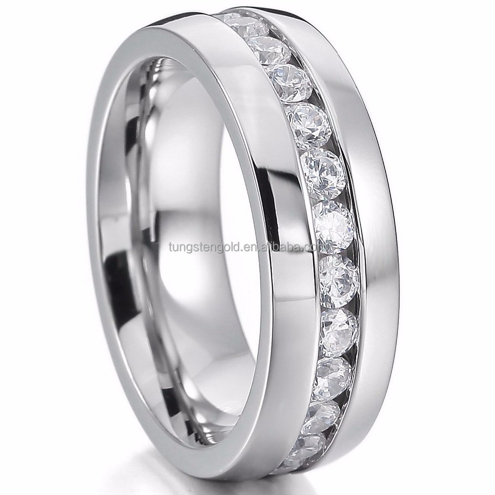 Stainless Steel Eternity Rings Band Silver Color China Jewelry Wholesale CZ Ring thailand
