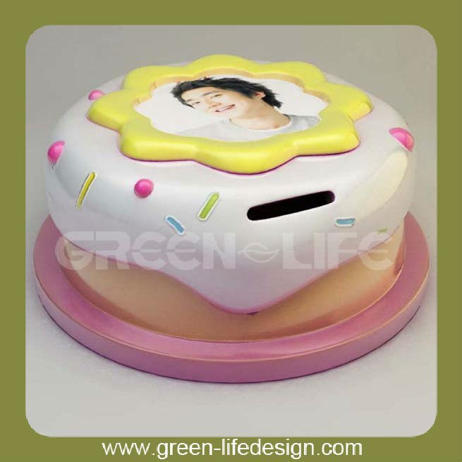 Wholesale Cake Shape Money Box with Photo Frame for Birthday