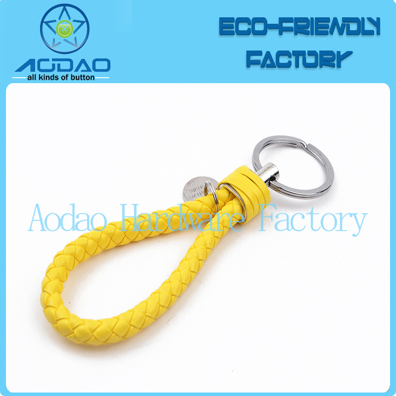 Factory direct colorful braided leather double keychains pu leather keyrings