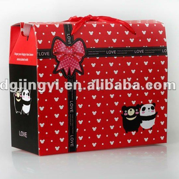 Fashion paper lunch gift box for kids with comfortable handle for hot sale in China