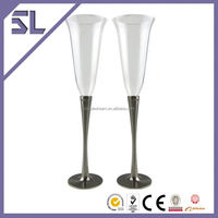 Glass Champagne Bottle High Ended Table Ware Craft Champagne Tulip Glass Zinc-Alloy Glass Craft
