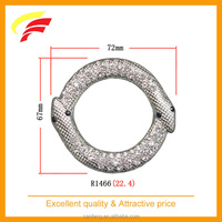 fashion zinc alloy two heads snake shaped decorative buckle with rhinestones for swimwear