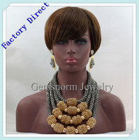 Classic Crystal Beads Women Nigerian Wedding Party African Beads Jewelry Set Silver/Gold Bridal Necklace