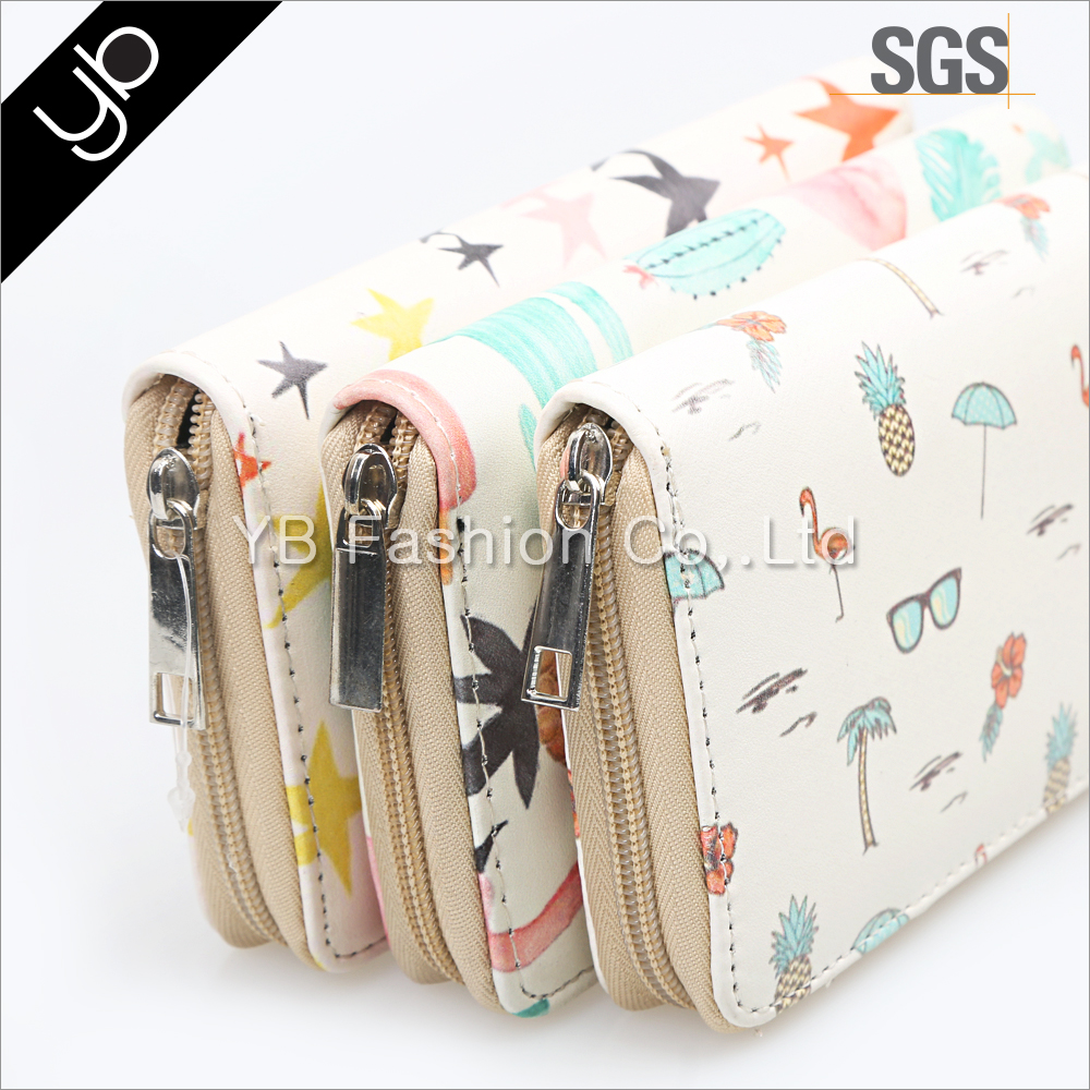 Fashion pastal printed women slim leather wallet with zip